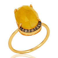 14K Yellow Gold Plated Sterling Silver Yellow Moonstone Stack Ring With CZ