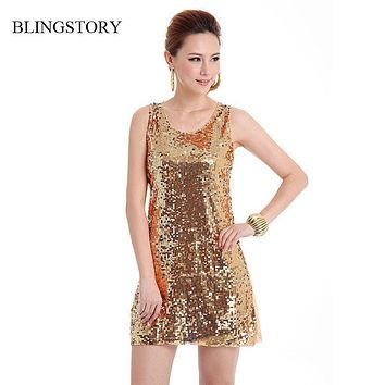 BLINGSTORY European style beautiful shinning Bling Bling Sequin lady club dress, Russian apparel vestidos Dropshipping