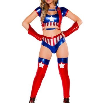 MOONIGHT Faux Leather Sexy Captain America Adult Costume Women's Captain America Costume Sexy Carnival Halloween Costume 4 Pcs