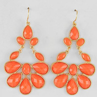 Coral Tear drop Chandelier Stone earrings