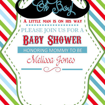 Printable Oh BOY!  Baby Shower Invitations with Mustasche With Striped background DIY Customizable Invitation
