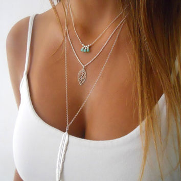 Fashion Blue stone Leaf Feather Pendant Chain Necklace 3 Layers Chunky Statement Chain Necklaces Women Jewelry Free Shipping