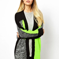 Fluorescent Green Long Sleeve V-Neck Geometric Patterns Knit Sweater Cardigan