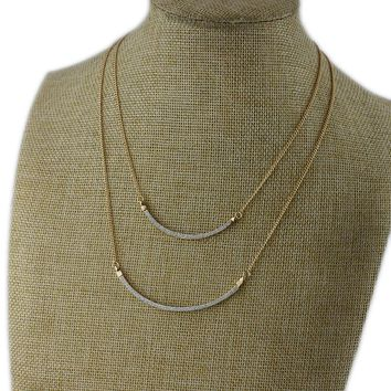 European and American jewelry gold metal trend necklace female personality simple layered clavicle chain 2 detachable wear KK