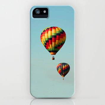 Hot Air Balloons on Aqua Blue iPhone & iPod Case by Brooke Ryan Photography