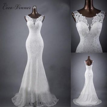C.V Real photo Custom Made Lace Mermaid Wedding Dress 2018 White Color V Neck Fish Tail Sexy Mariage Wedding Dresses W0193
