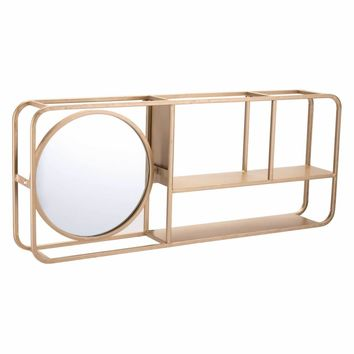 Shelf with Mirror Gold
