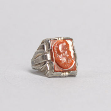 40s STERLING Silver MEN's RING / Carved Carnelian Roman Soldier Cameo 10