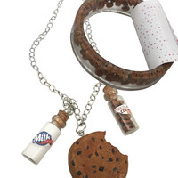 Chocolate Chip Cookie Charm Necklace and Bracelet Set, Cookie Necklace and Bracelet, Cookies and Milk Necklace and Bracelet Set