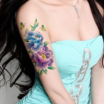TAFLY Butterfly Large Peony Flower Body Art Temporary Tattoo Transfer Sticker 5 Sheets