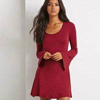 Plain Loose Sleeve A Line Dress