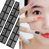 New Flower Stamping Nail Art Hollow Templates Airbrush Stencils Stickers,Reusable Stamp Plates Template Guide DIY Tools 18*3.5cm