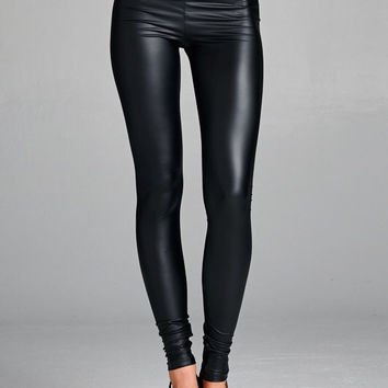 High Waisted Pleather Leggings - Black