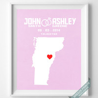 Personalized, Print, Vermont, Wedding, Anniversary, Customized, Family, State, Groom, Bride, Wall Art, Home Decor, Marriage, Love [NO 44]