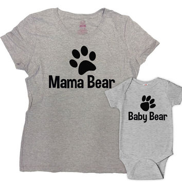 Matching Mommy And Me Clothing Mother Daughter Shirts Mother And Son Gift Mommy T Shirt Mom Gifts Mama Bear Baby Bear Bodysuit - SA61-617