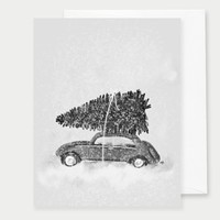Car With Christmas Tree Black & White Greeting Card