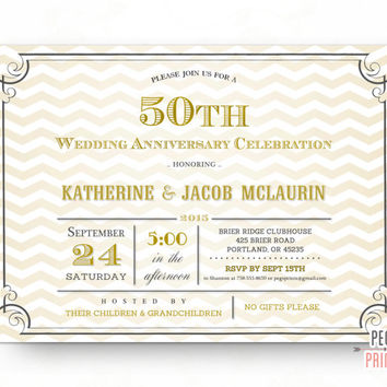 Golden Anniversary Invitation Printable // 50th Anniversary Invitation // 50th Wedding Anniversary Invitations // Golden 50 Year Anniversary