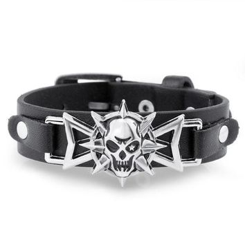 2016 Skeleton Skull Star Eye Punk Gothic Rock Leather Belt Buckle Bracelets For Women Men Bracelets & Bangles S302