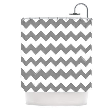 "KESS Original ""Candy Cane Gray"" Chevron Shower Curtain"