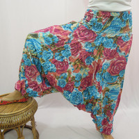 Harem Pants , Genie Aladdin Pants , Boho Gypsy Pants , Fisherman Loose baggy Pants Trouser,Floral pants