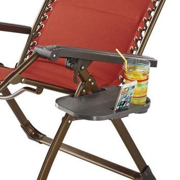 Beach Chair Side Table SnapOn Storage Beverage Cup Holder Brown Pool Accessories