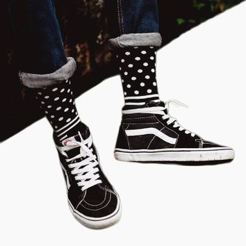CHAOZHU New Arrival Cool Skateboard Hip Hop Dots Stripes Patchwork Pattern Fashion Brand Happy Socks Men Boys Male