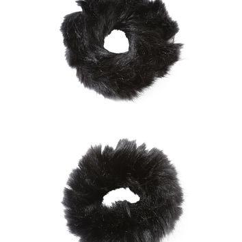 Black Fuzzy Scrunchie Set