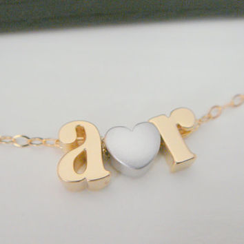 Personalized Initial Name Monogram and Heart Necklace, Letter Necklace, Bridesmaids Gifts, Lowercase Letter Necklace, Name Plate Necklace