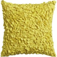 """Rimple Yellow 20"""" Pillow With Down-alternative Insert"""