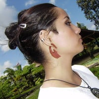 Fake gauge ,Wood Organic  Earrings, Tribal Expander Split Anela's hawaii