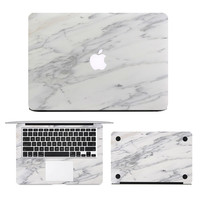 "3 in1 Unique Marble Grain Skin Sticker Laptop Decal for MacBook Air Pro Retina 11"" 13"" 15"" Full Cover Protective Case Sticker"