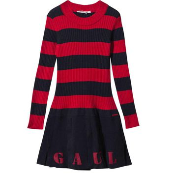 Gaultier Girls Navy & Red Striped Knit Jersey Dress