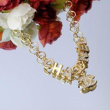 PEAPYV2 Chanel Woman Fashion Logo Diamonds Necklace