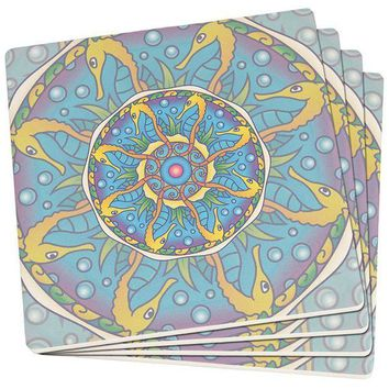PEAPGQ9 Mandala Trippy Stained Glass Seahorse Set of 4 Square SandsTone Art Coasters