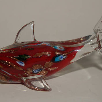 Collectible Unmarked Art Glass Cased Glass Figural Dolphin Paperweight Millefiori And Mica Flake Glassware