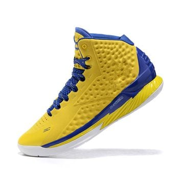Brett Lancaster Men's Lightweight Sports Running Shoe Under Armour Curry 2 Yellow and Navy (2) Training Shoe