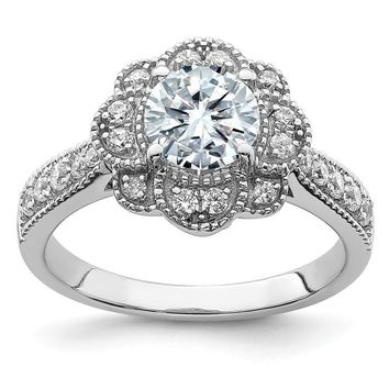 14k White Gold 1.58CT Round Floral Halo Moissanite Engagement Ring