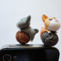 SALE 80-20%OFF:Cute Puppy playing Ball / iPhone Plug . Phone Charm . Phone Plug . Dust Plug -dog/ puppy, Kawaii, Girly