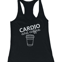 Cardio and coffee Women's Workout Tanktop Gym Tank Sleeveless Top for lady