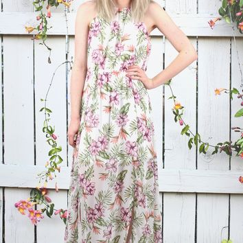 Floral Double Slit High Neck Maxi Dress {Ivory Mix}