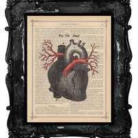 Heart Arteries art print anatomical heart veins print medical student gift heart anatomy dictionary art print antique music page art