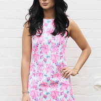 Floral Sleeveless Mini Shift Dress in Neon Pink & Lilac