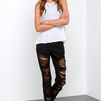 Scratch That Distressed Black Skinny Jeans