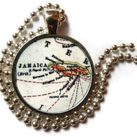 Jamaican map necklace pendant charm 1918 atlas, Jamaica jewelry, Jamaican pendant 2 of 2