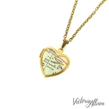 Los Angeles Map Necklace on Small Vintage Heart Locket - California Antique Map Jewelry