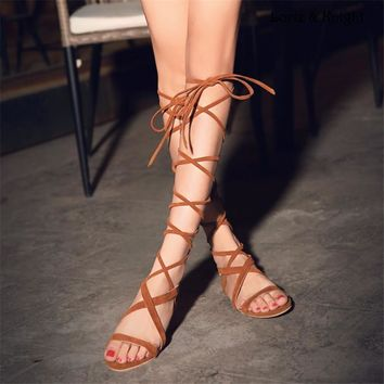 Suede Strappy Gladiator Knee High Sandals
