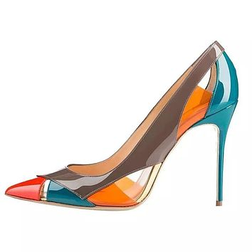 SIM Ladies Multi Colored Pointy Toe Heels