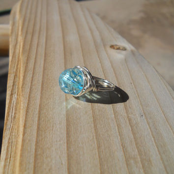 Silver Plated Wire Wrapped  Crystal Ring, Custom Ring, Wire Wrapped Ring, Wire Ring, Blue wire wrapped ring