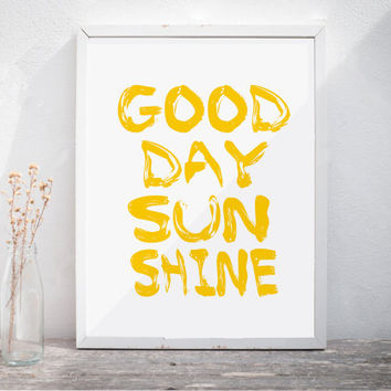 "Nursery Wall Art Baby Room Decor Kids Room Printable Art ""Good Day Sunshine"" Quote Beatles Poster Inspirational Print Beatles Print Poster"