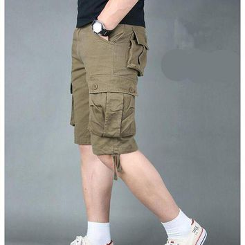 ONETOW Casual Shorts Men Summer 2018 Cotton High quality Men's Shorts Army Green Military Cargo Shorts Brand Clothing